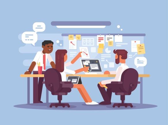 Three professionals planning work