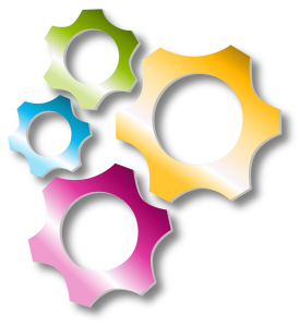 Set of colorful gears that interlock with each other.